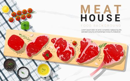 Raw beef steaks, tenderloin, strip loin, rib eye, t-bone and tomahawk with seasoning on wooden cutting board on marble stone background, vector, illustration Illustration