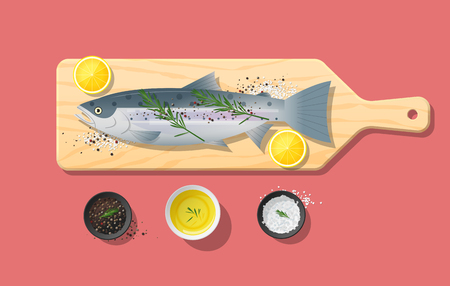 Fresh raw salmon fish and spices on wooden cutting board, food preparation. Vector illustration Foto de archivo - 103673473