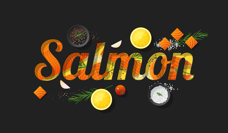 Word salmon design decorated with fresh raw salmon fish and spices on dark background. Vector illustration