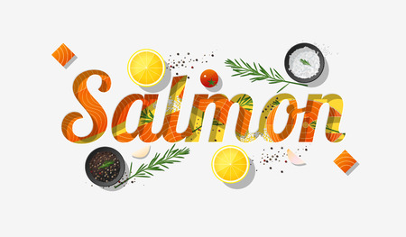 Word salmon design decorated with fresh raw salmon fish and spices on white background. Vector illustration