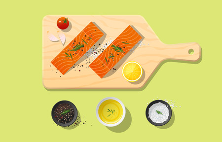 Fresh raw salmon fish and spices on wooden cutting board, food preparation. Vector illustration