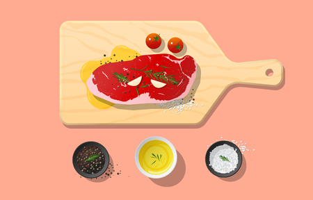 Fresh raw beef, strip loin steak and spices on wooden cutting board, food preparation. Vector illustration