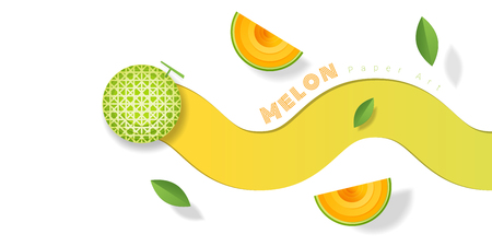 Fresh melon fruit background in paper art style. Vector illustration