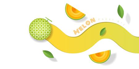 Fresh melon fruit background in paper art style. Vector illustration