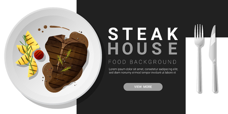 Grilled beef, t-bone steak and spices served on plate, food background. Vector illustration Illustration
