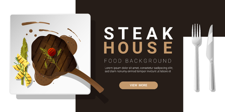 Grilled beef, tomahawk steak and spices served on plate, food background. Vector illustration