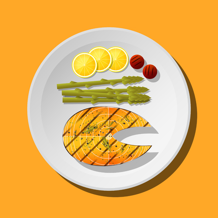 Grilled salmon steak with vegetables and spices served on plate , vector , illustration