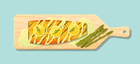 Grilled salmon steak with vegetables and spices served on wooden cutting board , vector , illustration Illustration