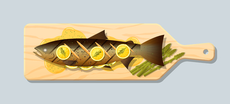 Grilled salmon steak with vegetables and spices served on wooden cutting board , vector , illustration Vectores
