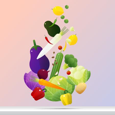 Flying fresh vegetables concept, healthy food background, vector, illustration Illustration