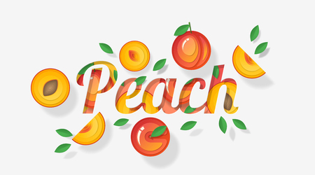 Word peach design decorated with peach fruits and leaves in paper art style , vector , illustration Ilustração