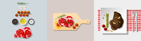 Set of rib eye steak recipe , preparation cooking and plating , vector , illustration