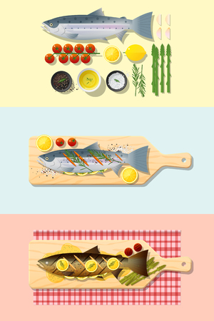 Set of salmon steak recipe , preparation cooking and plating , vector , illustration Vectores
