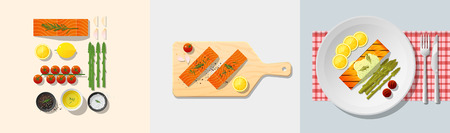 Set of salmon steak recipe , preparation cooking and plating , vector , illustration Illustration
