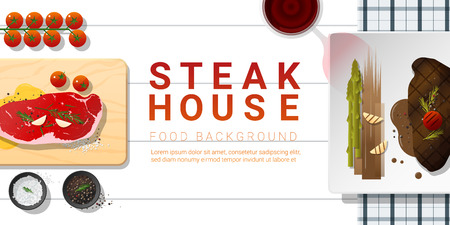 Raw fresh meat and grilled meat strip loin steak on white table , healthy food background , vector , illustration Illustration