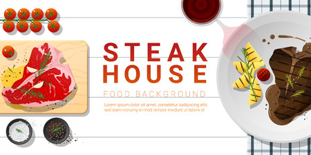 Raw fresh meat and grilled meat t-bone steak on white table , healthy food background , vector , illustration Archivio Fotografico - 114803599