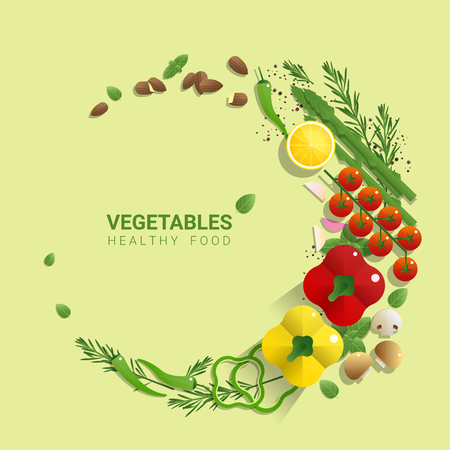 Flat lay Fresh vegetables on green background, healthy food concept, vector, illustration