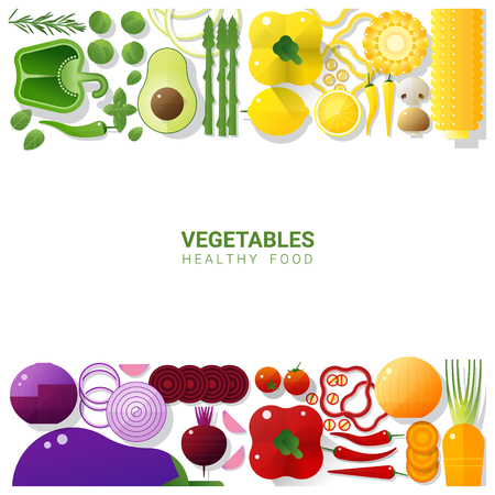 Flat lay Fresh vegetables isolated on white background , healthy food concept , vector , illustration Illustration