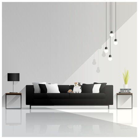 Diseño de sala de estar moderna, Fondo interior, vector, Ilustración