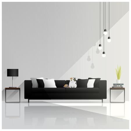 Modern woonkamerontwerp, binnenlandse achtergrond, vector, illustratie