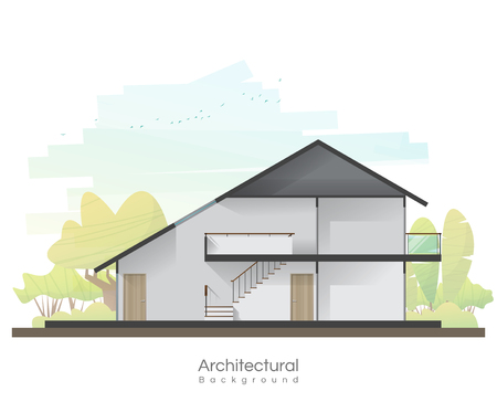 House cross section with empty room and peaceful landscape background , vector , illustration 일러스트