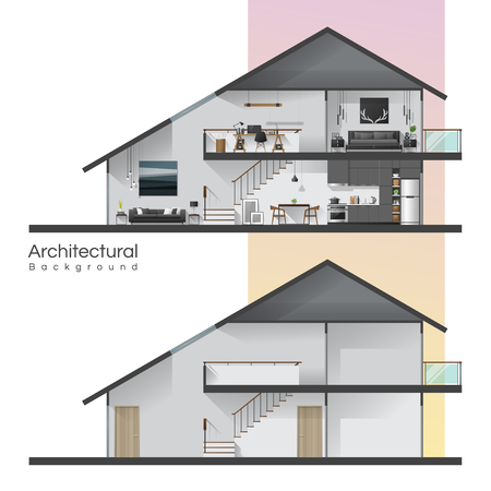 House cross section with furniture and empty house , vector , illustration Vector Illustratie