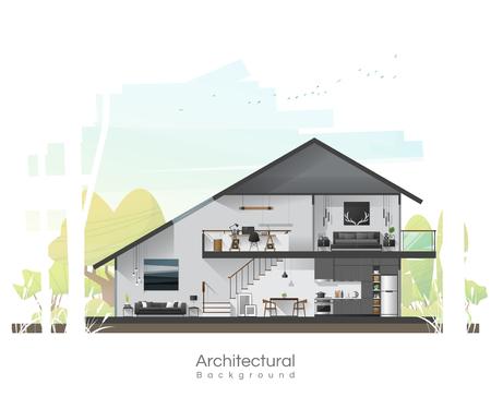 Huisdwarsdoorsnede met meubilair en vreedzame landschapsachtergrond, vector, illustration