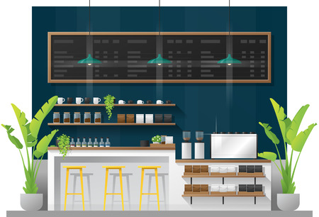 Escena interior de la barra de mostrador de cafetería moderna, vector, Ilustración