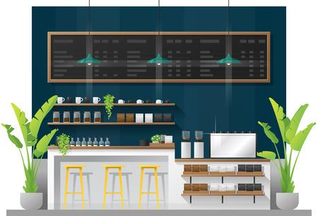 Scena interna della moderna caffetteria bancone bar, vettore, illustrazione
