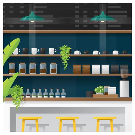 Interieur scène van moderne coffeeshop teller bar, vector illustratie