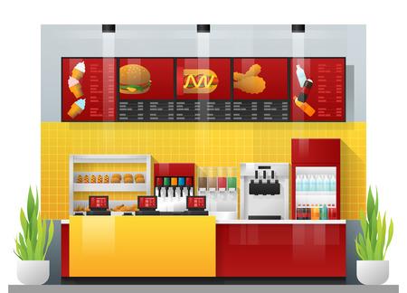 Interior scene of modern fast food restaurant , vector , illustration Vetores