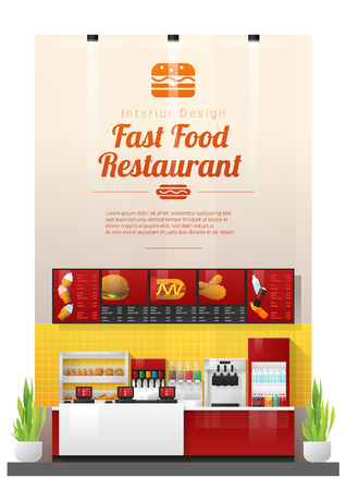 Interior background with modern fast food restaurant counter , vector , illustration Stock Illustratie