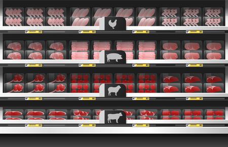 Vers vlees te koop weergeven op de plank in de supermarkt, vector illustratie Vector Illustratie