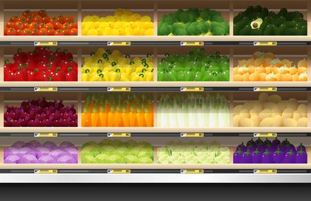 Fresh vegetables for sale display on shelf in supermarket , vector , illustration