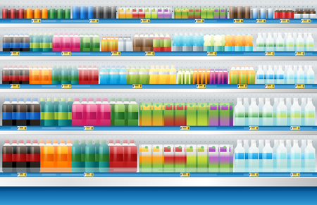beverages for sale display on shelf in supermarket , vector , illustration Vectores