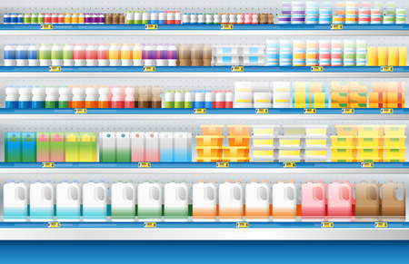 Dairy products for sale display on shelf in supermarket , vector , illustration