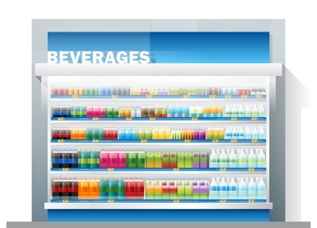 beverages for sale display on shelf in supermarket , vector , illustration Иллюстрация