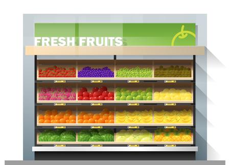 Fresh fruits for sale display on shelf in supermarket , vector , illustration Vector Illustration