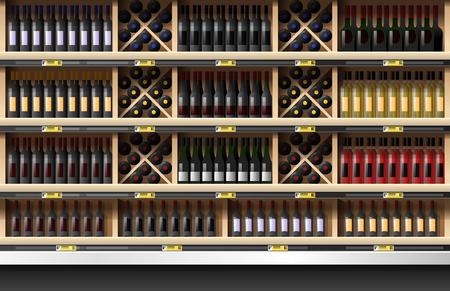 Varie bottiglie di vino display sullo scaffale in supermercato, vettore, illustrazione