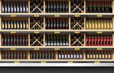 Various bottles of wine display on shelf in supermarket , vector , illustration Standard-Bild - 109790986