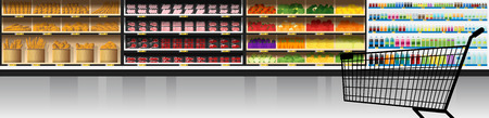 Interior scene of modern supermarket with products and shopping cart , vector , illustration