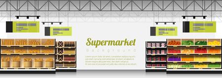 Escena interior de supermercado moderno con fondo de productos, vector, Ilustración