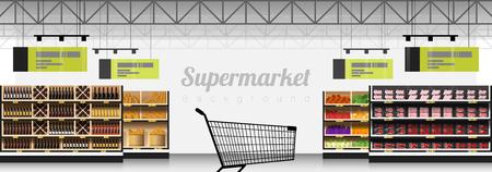 Binnenlandse scène van moderne supermarkt met productenachtergrond, vector illustratie