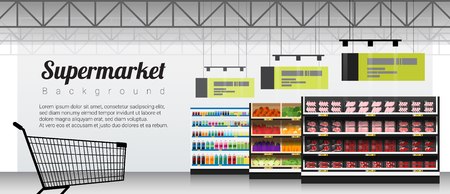 Modern supermarket with products and shopping cart background , vector , illustration Illustration
