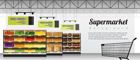 Supermercato moderno con prodotti e carrello della spesa sfondo, vettore, illustrazione