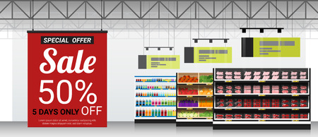 Promotion sign in modern supermarket background , vector , illustration