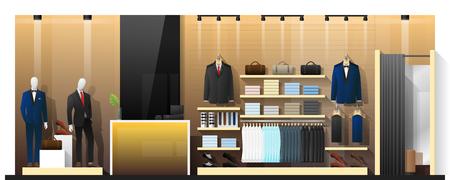 Escena interior de tienda de ropa de hombres, vector, Ilustración Ilustración de vector