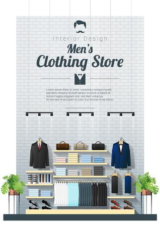 Fond intérieur du magasin de vêtements pour hommes modernes, vecteur, illustration
