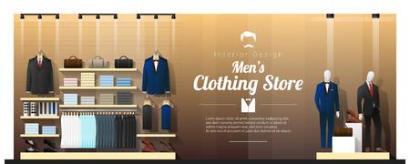 Fond intérieur du magasin de vêtements pour hommes de luxe, vecteur, illustration