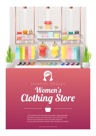 Interior background of modern women clothing store , vector , illustration Vecteurs